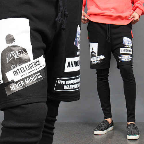 Graphic Printing Leggings Layered Half Sweatpants