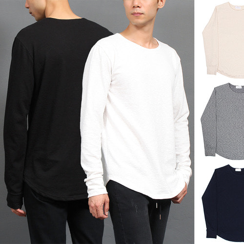 Shirttail Hem Stretchable Basic Long Tee