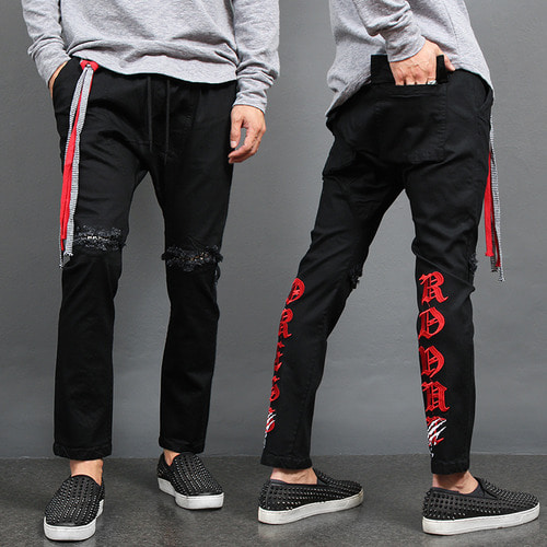 Studded Knee Logo Stitch Strap Sweatpants