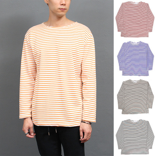 Color Stripe Split Side Basic Tee