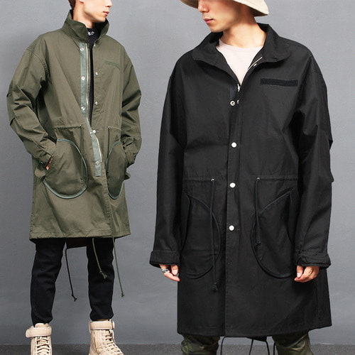 Military Zipper Snap Button Long Jacket 680