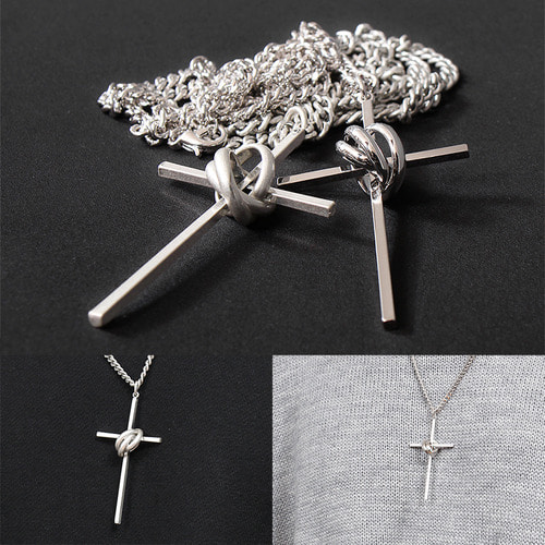 Silver Tone Triple Ring Steel Cross Chain Necklace N75