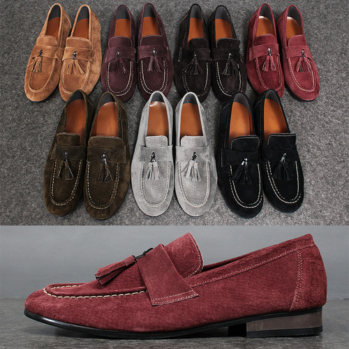 Color Suede Leather Tassel Loafers