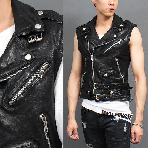 Zipper Buckle Belted Riders Black Leather Vest