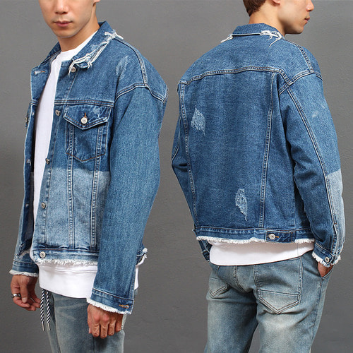 Vintage Distressed Contrast Faded Ripped Denim Jacket
