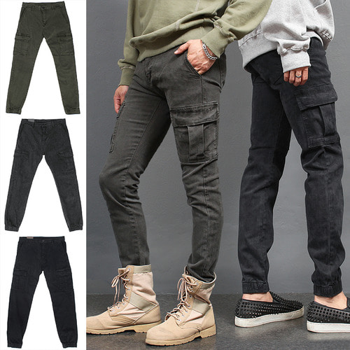 Vintage Effect Washed Cargo Pocket Slim Jogger Pants