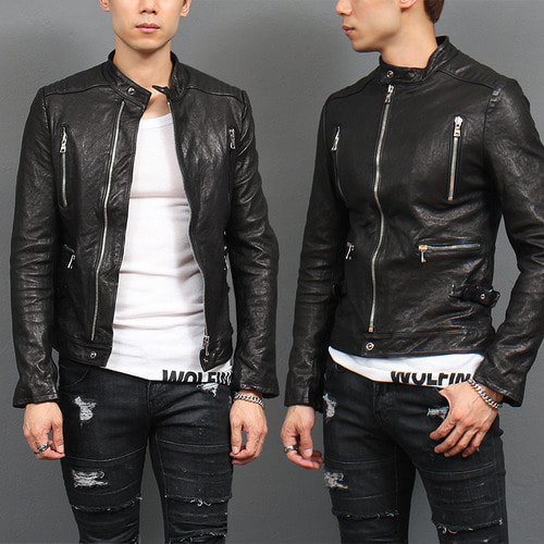 Band Neck Collar Zipper Pocket Lambskin Leather Biker Jacket