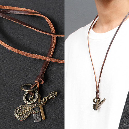 Guitar Cross Pendant Leather Strap Necklace N76
