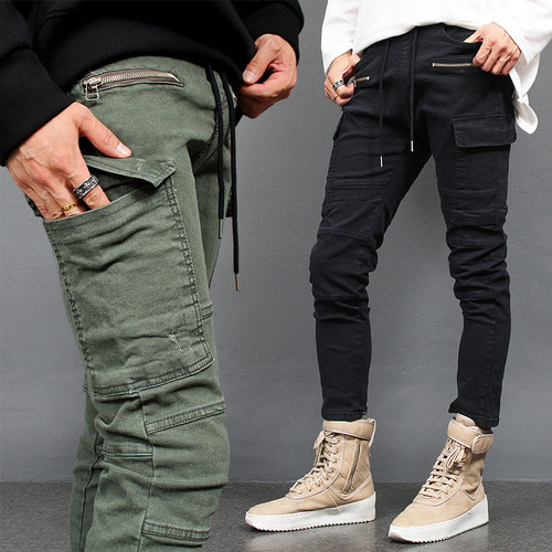 Waistband Cargo Pocket Zipper 4/5 Slim Pants P421
