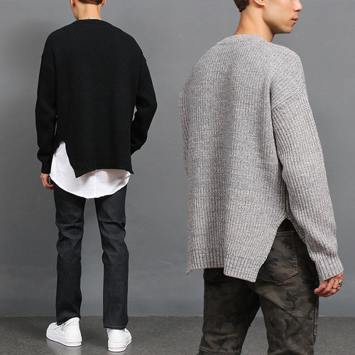 Standard Fit Over Split Side Long Knit Jumper