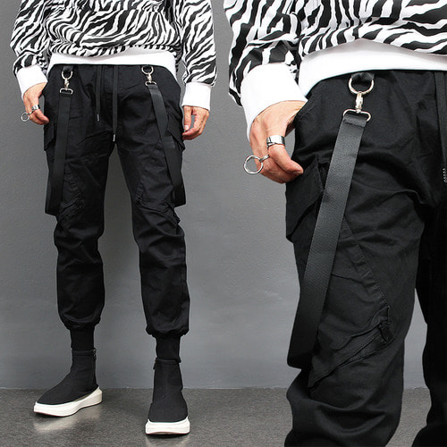 Big Cargo Pocket Webbing Strap Buckle Jogger Pants