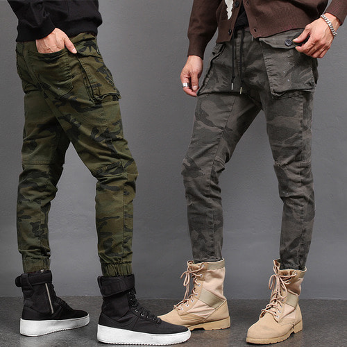 Military Camouflage Vintage Button Cargo Pocket Jogger Pants P419