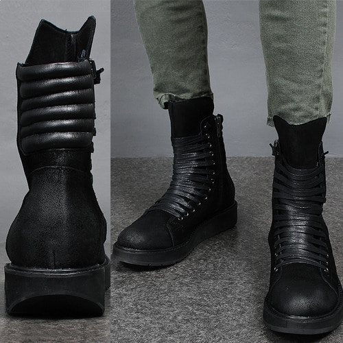 Crack Coated Leather Zipper Embossed Pad Black Boots XC136