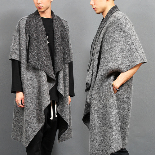 Half Sleeve Draped Shawl Wool Cardigan