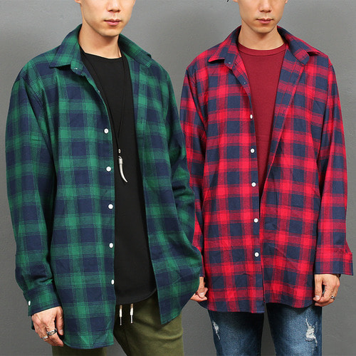 Loose Fit Red Navy Checkered Pattern Shirt