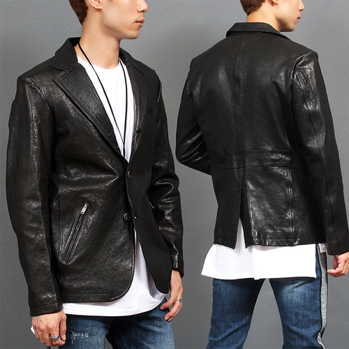 Ribbed Collar Zipper Pocket Two Button Leather Jacket