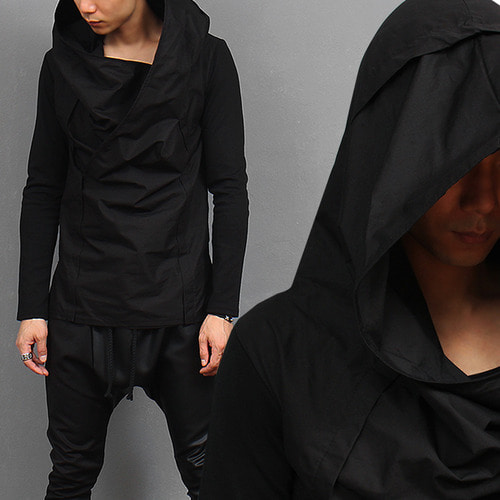 Avant Garde Over Big Hood Split Side Long Sleeve Tee