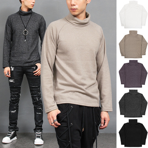 Loose Fit Fleece High Neck Color Tee