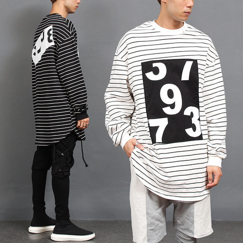 Loose Fit Stripe Number Patch Long Boxy Tee