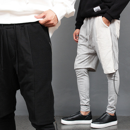 Side Zipper Leggings Layered Sweatpants