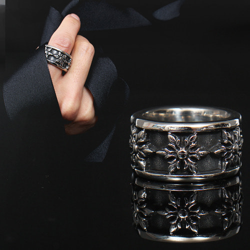 Snowflake Engraved Surgical Stainless Steel Ring R10