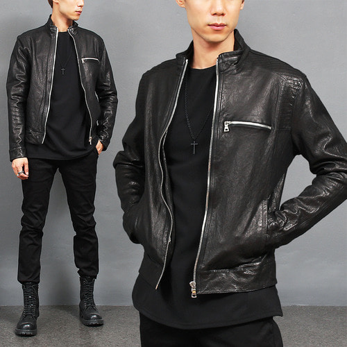 Half Neck Shoulder Stitch Zip Up Slim Leather Jacket