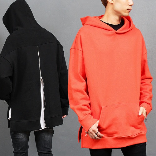 Zip Up Back Zippered Cuff Big Over Boxy Hoodie