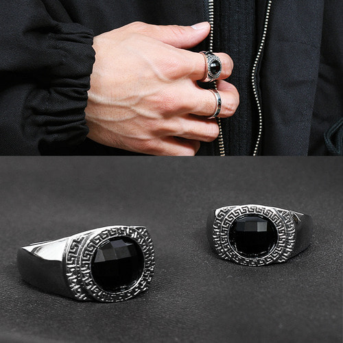 Black Cubic Engraved Surgical Stainless Steel Ring R21