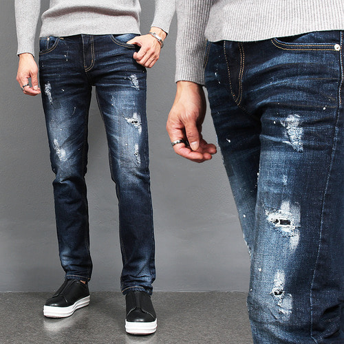 Vintage Distressed Painted Slim Fit Blue Jeans 1078