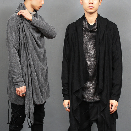 Shoulder Button Draped Shirring Shawl Collar Hood Cardigan