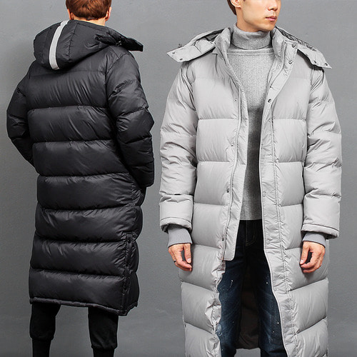 Loose Fit Water Proof Duck Down Hood Long Puffa Parka