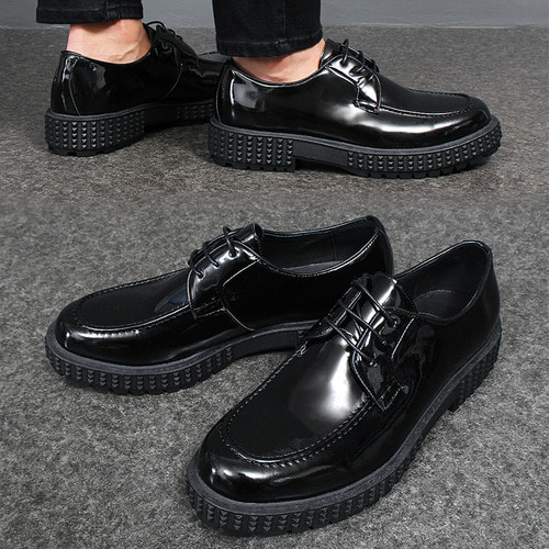 Patent Leather Moc Toe Derby Shoes SJ013