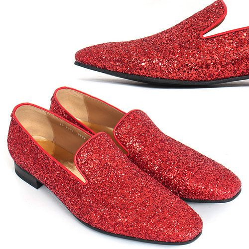 Handmade Red Crystal Glitter Encrusted Loafers 5271