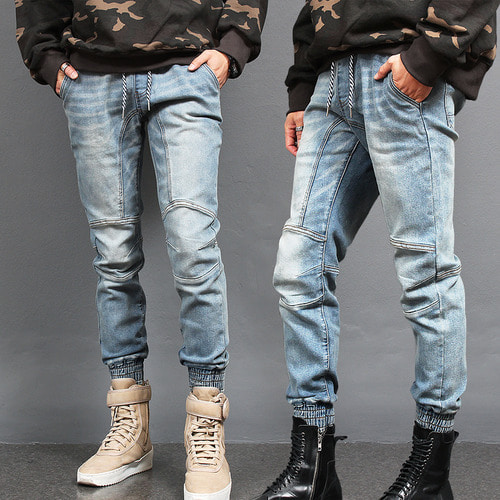 Vintage Fade Washed Biker Denim Jogger Pants 205