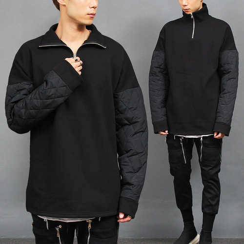 High Neck Zip Up Anorak Quilted Sleeve Boxy Tee