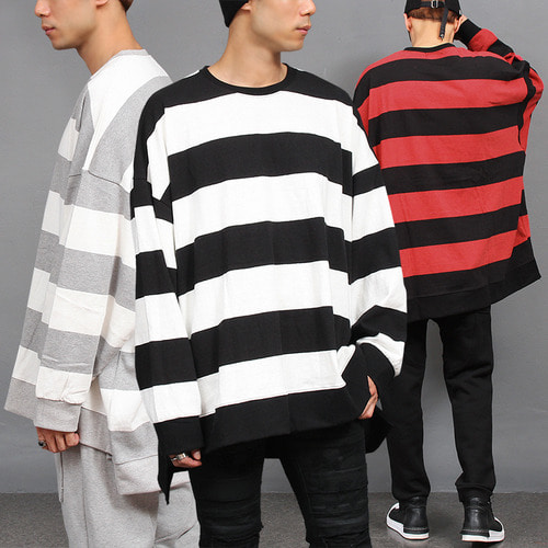 Over Sized Loose Fit Boxy Striped Long Sleeve Tee
