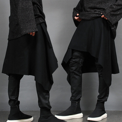 Avant garde Grunge Unbalanced Drape Cape Wrap Wool Skirt
