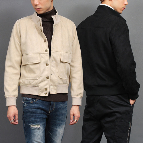 Synthetic Suede Button Up High Neck Jacket