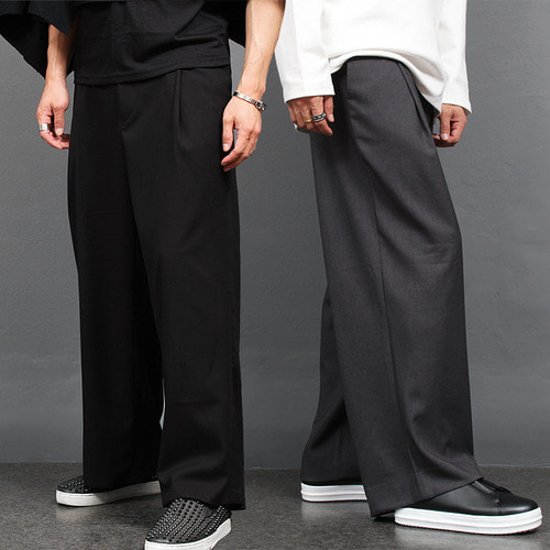 Loose Fit Pleated Wide Wool Slacks Pants