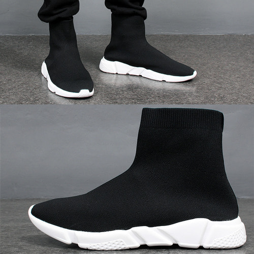 Solid Knit High Top Ankle Socks Speed Runner Sneakers
