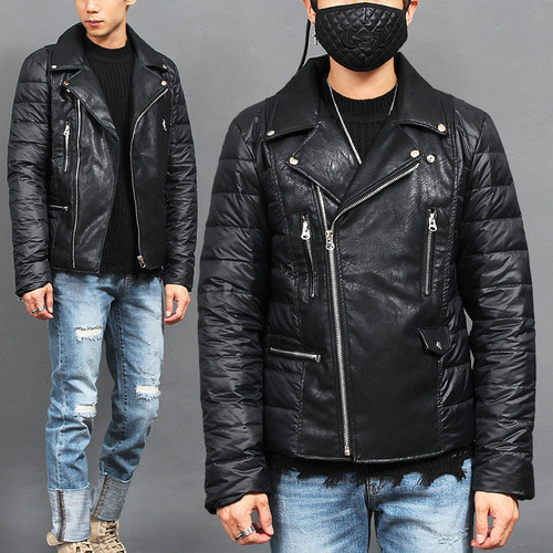 Riders Duck Down Puffer Slim Leather Jacket