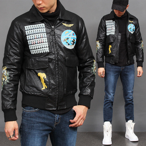 Graphic Printing Faux Leather Blouson Bomber Jacket