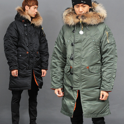 Real Raccoon Fur Hood Military Down Parka