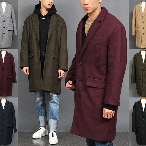 Loose Fit Over Sized Color Wool Long Coat
