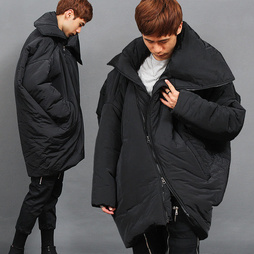 Avant garde Unbalanced Zipper Loose Fit High Neck Parka