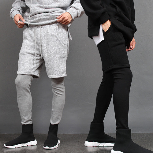 Leggings Layered Interior Fleece Knit Sweatpants