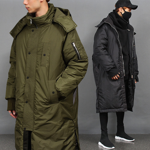 Loose Fit Military Hood Long Puffa Down Parka