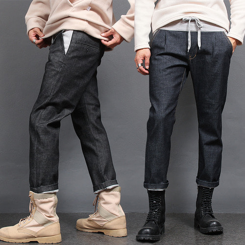 Elastic Waist Banding Fleece Raw Denim Pants D037