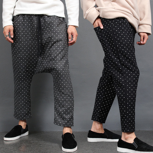 Dot Pattern Drop Crotch Winter Baggy Sweatpants