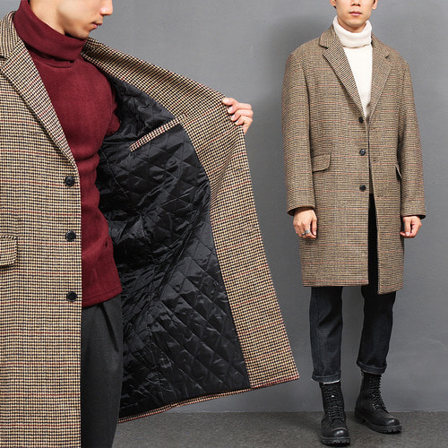 Hound's Tooth Check Pattern Loose Fit Brown Wool Long Coat